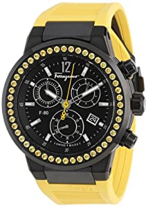 Salvatore Ferragamo Unisex F55LCQ68Y09 SR05 F-80 Yellow Sapphires on Bezel Ring Chronograph Watch by Salvatore Ferragamo
