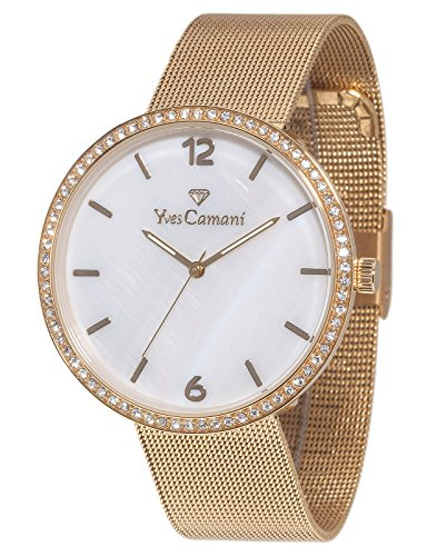 Yves Camani Women's Adorian Quartz Watch with Mother of Pearl Dial Analogue Display and Silver Stainless Steel Bracelet YC1086-C