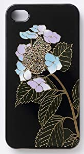iPhone4/4S  ケース 和風 漆塗り蒔絵 紫陽花