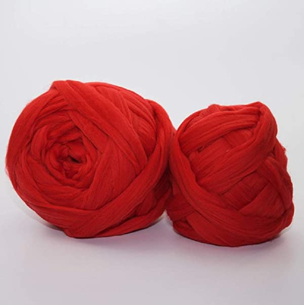 Giant Wool Yarn Chunky Merino Arm Knitting Super Soft Wool Yarn Bulky Wool Roving Red 4.4 lbs (Color: Red, Tamaño: 4.4 lbs)