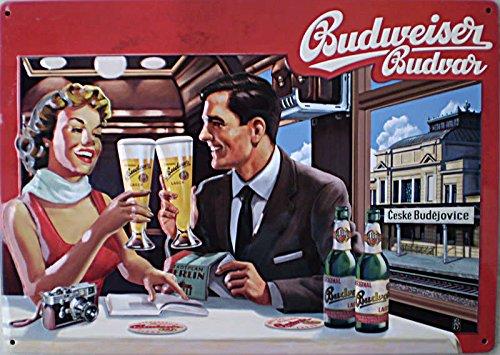 budweiser-bier-blechschild-parchen-im-reisezug-speisewaggon-budvar-8