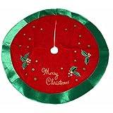 """20"""" Festive Red & Green Sequined Mini Christmas Tree Skirt"""