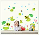 Topro Nursery Pool Happy Frogs Water Lily Flowers Wall Art Stickers Decal f...