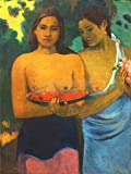 PAUL GAUGUIN TWO TAHITIAN WOMEN OLD MASTER PAINTING PRINT 24x18 INCH (61x46 Cms) POSTER 2205OMLV