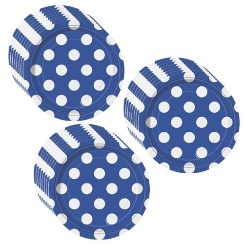 Royal Blue Polka Dots Party Dessert Plates - 24 Pieces