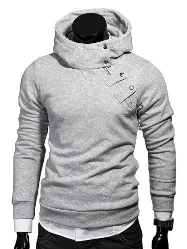 MT Styles Kapuzenpullover Hoher Kragen Pullover Hoodie S135 [Grau, M] Picture