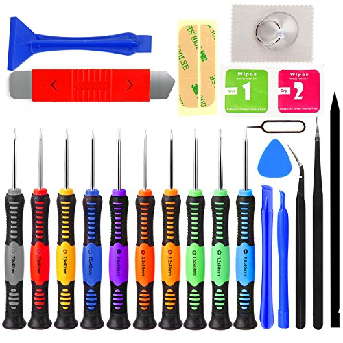 Jellas 23 in 1 iPhone Repair Kit Professional Precision Magnetic Screwdriver Set Opening Pry Bar Tool for iPhone 6 6S / 5S / 4S, Samsung, Sony, HTC Mobile Phones, iPad, iPod, Tablet, Macbook and More. (Ipod Repair Tool Kit compare prices)