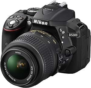 Nikon D5300 Appareil photo numérique Réflex 24,2 Mpix Kit Boîtier + Objectif AF-S DXVR 18-55 Mm Noir