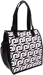 Fashion Lunch Tote - Insulated Large Lunch Bag - with Zipper - Deco Dots
