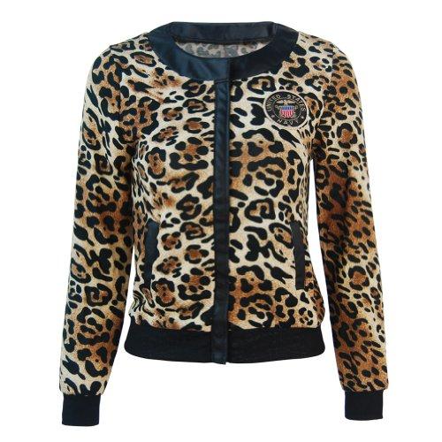 Funoc Women Casual Zipper Long Sleeve Short Leopard Print Jacket