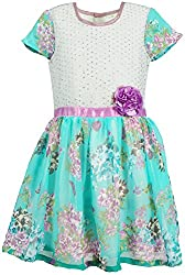 Euphoria Girls' A-line Frock (305F_2-3 Years, Turquoise, 2-3 Years)