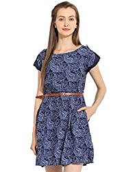 Blue Printed Dress X-Large