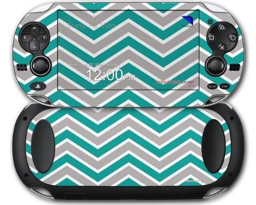 Sony PS Vita Skin Zig Zag Teal and Gray by WraptorSkinz
