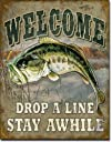 Welcome Bass Fishing Tin Sign 16 X 12.5  1221516