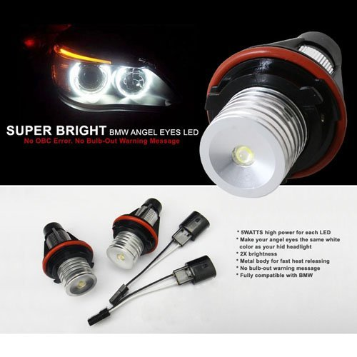 Nilight 04-09 Bmw 5 Series E60 M5 Xenon Super Bright Angel Eye Led Oe Replacement Bulbs