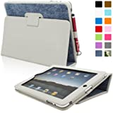 Snugg PI-H3UX-KC68 Case with Flip Stand and Lifetime Guarantee for Apple iPad 1, Blue Denim Leather