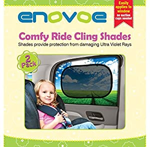Car Sun Shade - Premium Car Window Sun shades - 2 Pack - Baby Car sunshades block over 97% of Harmful UV Rays and help protect your child from sunlight and glare - Car sunshades easily applies without jumbo suction cups - Fits most vehicles - Comes with a