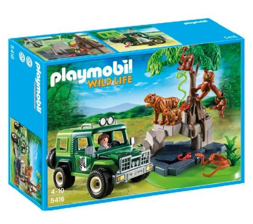 PLAYMOBIL Wild life - Jungle Animals with Researcher and Off-Road Vehicle - 5416 -The Playmobil Wild life - Jungle Animals with Researcher and Off-Road Vehicle - 5416 set includes 1 vehicle, 1 figure, 1 tiger and 1 tiger cub, 1 orangutan and her babies, as well as a range of features and accessories. (5416)
