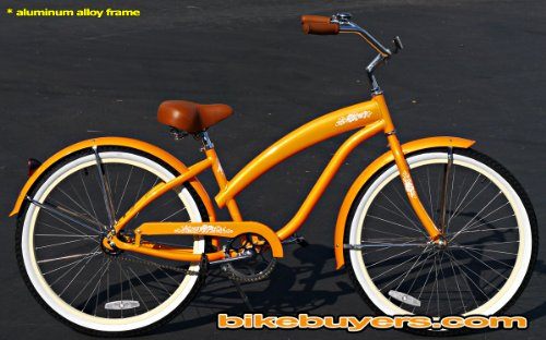Anti-Rust Aluminum frame, Fito Modena EX Alloy 1-speed Orange Women's Beach Cruiser Bike Bicycle Micargi Schwinn Nirve Firmstrong style