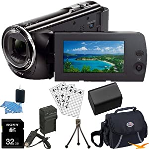 Sony HDR-PJ230/B HDRPJ230 HDR-PJ230 B High Definition Handycam Camcorder with 2.7-Inch LCD (Black) Ultimate Bundle with 32GB SD Card, High Capacity Spare Battery, Rapid AC/DC Charger, Deluxe Carrying Case, Table Tripod, LCD Screen Protectors + More