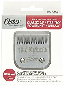 """Oster Professional 76918-106 Replacement Blade with AgIon Antimicrobial Coating for Classic 76/Star-Teq/Power-Teq Clippers, Size# 18 Skiptooth 1/8"""" (3.2mm)"""