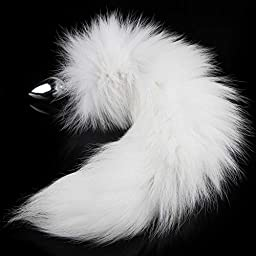KissyBody Wild Stainless Steel Imitation White imitation Fox\'s Tail Butt Plug,Sexual Show,Special Sex Toy for Adults