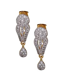 Brilliant CZ Stone Studded Trendy Earring With A Circle Shape On Top And A Tear Drop Providing It A Ravishing...