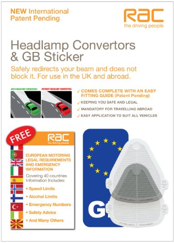 RAC Headlamp / Headlight Beam Deflectors, Beambenders & Convertors SET including FREE GB STICKER & European Motoring leaflet for Continental and UK Driving - Suitable for all vehicles