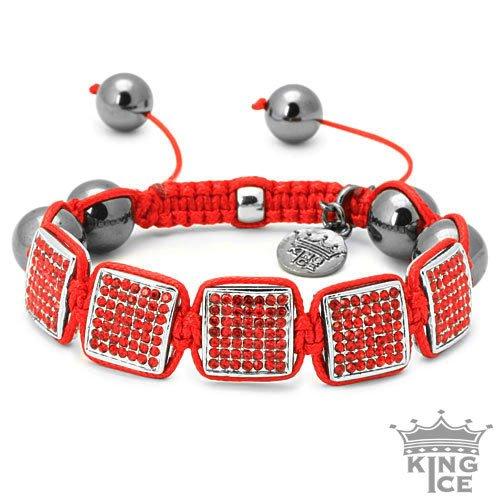 Square Disco Ball Red CZ Urban Bracelet