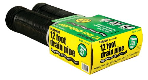 Flex-Drain 50910 Flexible/Expandable Landscaping Drain Pipe, Perforated, 4-Inch by 12-Foot