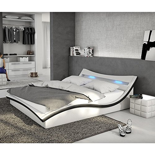 polster bett 180x200 cm wei schwarz aus kunstleder mit led beleuchtung magari das kunst. Black Bedroom Furniture Sets. Home Design Ideas