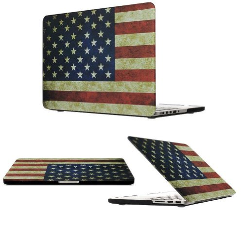 "Easygoby Retina 15-Inch Vintage American Flag Rubber Coated Matte Solid Hard Shell Case Cover For Apple Macbook Pro 15.4"" With Retina Display (A1398) + Transparent Keyboard Cover - Flag Of The Us"