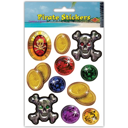 Pirate Treasure Stickers Party Accessory (1 count) (4 Shs/Pkg) - 1