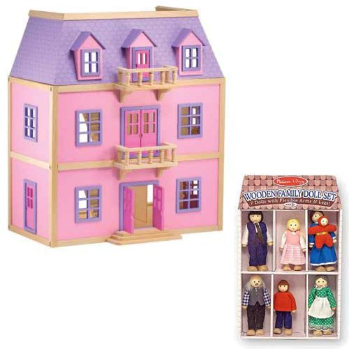 Melissa &#038; Doug Multi-Level Solid Wood Dollhouse w/ Family of 5 Dolls
