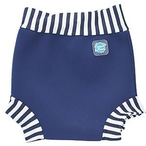 Splash About Kids Reusable Swim Happy Nappy - Navy/White Stripe Rib, Medium, 3-8 Months