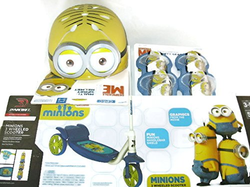 Despicable-Me-Minions-3-D-Dynacraft-3-Wheeled-Scooter-Bundle-with-Despicable-Me-Minion-Made-Multi-Sport-Helmet-and-Despicable-Me-Minion-Made-Elbow-Knee-Pads-Safety-Gear-6-Items