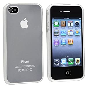 INSTEN Compatible With Apple iPhone 4S AT&amp;T / Verizon / Sprint Clear Frost White TPU Rubber Skin Case