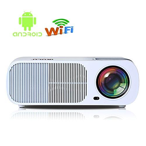 "iRULU 20 Pro Android 4.4 Multimedia Video Projector Max 2600 Lumens Portable Home Theater LED HD 1080P Cinema Max 200"" Wi-Fi Wireless Video Projector (USB HDMI VGA TV AV) - White"
