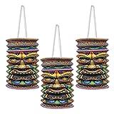 Beistle Tiki Paper Lanterns, 9-Inch, Multicolor
