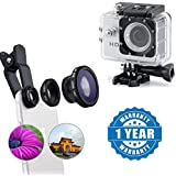Apple IPhone SE Compatible Certified 3 In 1 Universal Clip Mobile Phone Lens Fish Eye With HD 1080P Cam Sports...