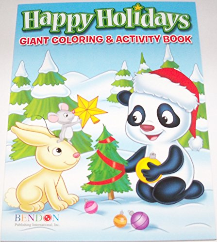 Happy Holidays 160 Page Giant Coloring and Activity Book ~ Christmas Edition (Animals Decorating Christmas Tree)