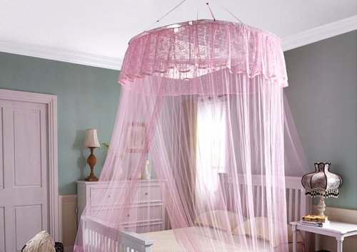 Pink Big Mosquito Net Canopy For Holiday & Home. Full 12 Meter Coverage. Up To Kingsize. Non Skin Irritation. No Drilling No Screwing