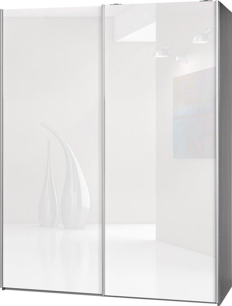 Schwebetürenschrank Soft Plus Smart Typ 43″, 150 x 194 x 61cm, Silbereiche/2 x Weiß hochglanz