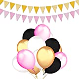 Balloons Party Decorations Supplies,100 Ct 12 ''Latex Party Balloons (Gold, White, Pink, and Black Colors),2-Pack Gold Pink Vintage Style Pennant Banner by Home Kitty