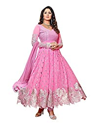 Shree Fashion Hub Baby Pink Unstitched Embroidered Dress Material