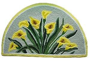luk demi lune jaune calla haute densit main l gant brod tapis de porte chambre salle de. Black Bedroom Furniture Sets. Home Design Ideas