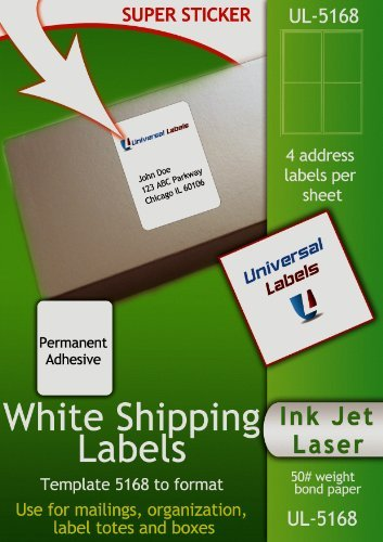 400 universal labels heavyweight shipping labels 4 for Universal laser printer labels template