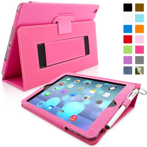 Big Save! Snugg iPad Air (iPad 5) Case in Hot Pink Leather – Flip Cover and Stand with Automatic Wake / Sleep, Elastic Hand Strap & Soft Premium Nubuck Fibre Interior to Protect Apple iPad Air (iPad 5) – Includes Lifetime Guarantee