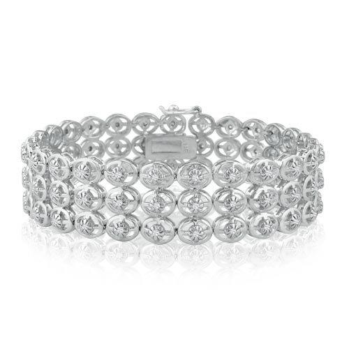 1ct Bold Three-row Diamond Tennis Bracelet in Sterling Silver 7