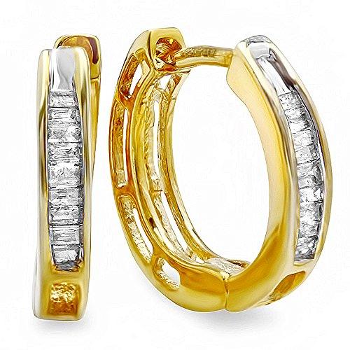 0.15 Carat (Ctw) 18K Yellow Gold Plated Sterling Silver Ladies Baguette Diamond Huggies Hoop Earrings